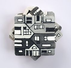 wood tile coasters hand painted black grey by archcessoires, $30.00