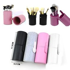 Travel Makeup Leather Storage Brush Pen Holder Cosmetic Cup Case Box Fast Ship