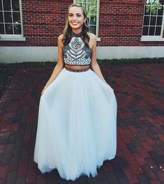 Charming Prom Dress,Two Piece Chiffon Prom Dress,Long Prom