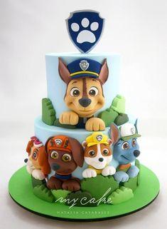 Paw Patrol Cake by Natalia Casaballe Bolo Do Paw Patrol, Torta Paw Patrol, Paw Patrol Cake Toppers, Paw Patrol Cupcakes, Paw Patrol Birthday Theme, Paw Patrol Party, Baby Birthday Cakes, Card Birthday, Birthday Greetings