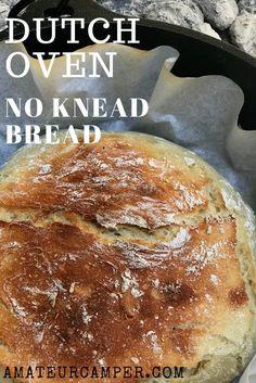 Dutch Oven No Knead Bread #camping #nokneadbread #campingrecipe Best Dutch Oven, Dutch Oven Bread, Dutch Oven Camping, Dutch Oven Recipes, Cooking Recipes, I Love Pizza, No Knead Bread, Camping Meals, Camping Tips