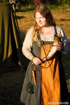 Showing off my garb and my husband's Sutton Hoo replica horn, Rusborg Festival 2012. Need a better belt pouch.