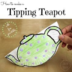 Kids can make a Tipping Teapot with downloadable free printable ~ Danya Banya Great art idea for toddlers