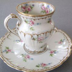HAVILAND-Porcelain-Cup-Saucer-PINK-ROSES-Blue-FMNs-DOUBLE-GOLD-Trembleuse
