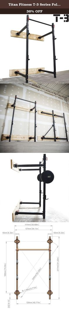 "Titan Fitness T-3 Series Fold Back Power Rack 41"" Deep Wall Mounted Laser Cut. The Titan T-3 Series folding power rack is ideal for anyone with limited space. Start bench pressing, doing squats, dips, and other creative exercises within minutes after attaching the rack to your wall. T-3 Series power racks use 2""x3"" steel tubes with 2"" diameter bars. Our pin and hinge system allows you to quickly remove the pull up bar after the workout and simply fold the rack up against the wall. *Wood..."