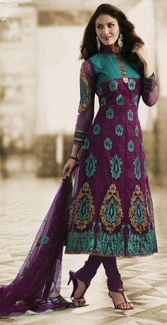 $66.36 Purple Net Long Embroidery Anarkali Salwar Suit 23989