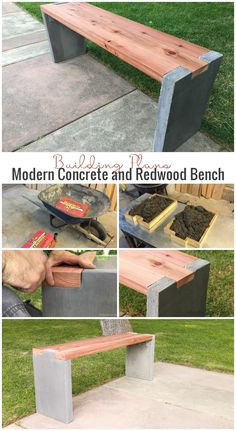 17 Awesome DIY Concrete Garden Projects diy-modern-concrete-and-redwood-bench-building-plans-remodel Concrete Garden Bench, Concrete Patios, Concrete Furniture, Diy Concrete, Patio Stone, Flagstone Patio, Cement Bench, Cement Patio, Concrete Blocks