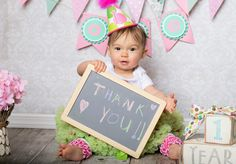 Thank you card chalkboard One year old girl photoshoot #islaazurephotography