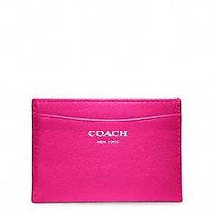 Coach, Legacy Leather Card Case in Silver/Fuchsia, $38