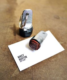 Genius concept - self-inking stamp on your key ring in lieu of business cards - Cranky Pressman (vendor)
