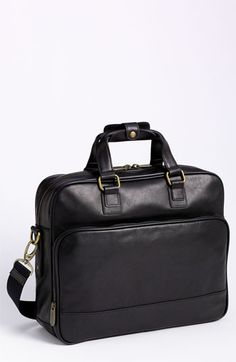 $395, Bosca Top Zip Leather Briefcase Black One Size. Sold by Nordstrom. Click for more info: https://lookastic.com/men/shop_items/142494/redirect