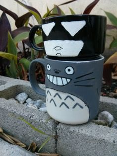 Totoro Hand Painted Mug by TheCornerGeekery on Etsy