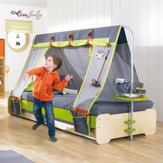 Twin size canvas bed enclosure tent kids canopy for boys for Canopy boys