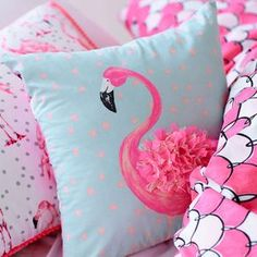 Adairs Kids Fifi Flamingo Quilt Cover Set, kids quilt covers, doona covers from Adairs Kids Pinkie could easily add a splash of color. Pink Flamingo Party, Flamingo Decor, Pink Flamingos, Flamingo Outfit, Pink Pillows, Throw Pillows, Adairs Kids, Decoration Bedroom, Room Decor