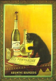 ABSINTHE BOURGEOIS - ARTIST - MOURGUE Brothers - Late 19th - Art Nouveau - Belle epoque - http://www.etsy.com