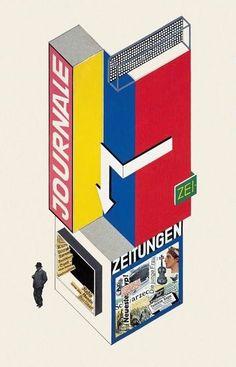Herbert Bayer's 1924 design for a news stand. #NewsFonts @designmuseum…