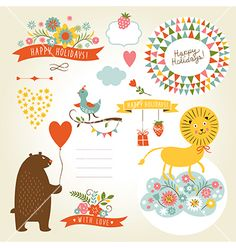 Set of holiday graphic elements and cute animals vector - by Lenlis on VectorStock®