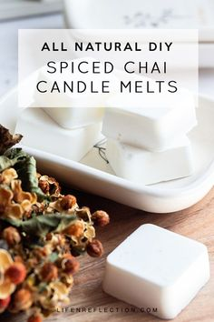 Use the recipe to make homemade candle wax melts. Create a spiced chai blend of essential oils to scent the wax melts naturally. Homemade Soy Candles, Diy Candles Easy, Diy Candles Scented, Unique Candles, Aromatherapy Candles, Diy Candles Decoration, Diy Wax Melts, Scented Wax Melts, Chai