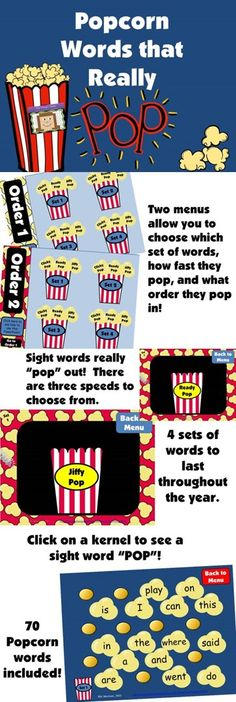 Popcorn words that really POP!  Your kids will love reading these sight words.  Choose from three speeds. $