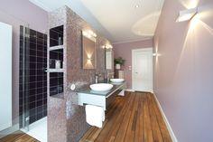 Cinder Rose Farrow and Ball, Bathroom wooden floor, mozaïek Sicis