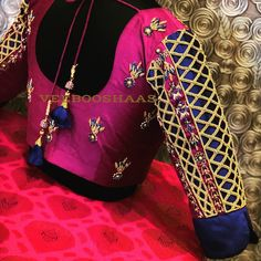 Beautiful rani pink color designer blouse with floral design hand embroidery thread work. Beautiful cut work on sleeve. For orders and appointments call on +91-99441-33022 . 30 April 2018