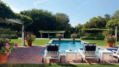 Hamptons pool. Simple, green grass, shrubs in pots, lounge chairs.