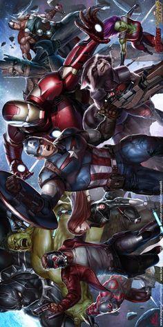 Avengers / Guardians by Inhyuk Lee Marvel Dc, Marvel Comics Superheroes, Disney Marvel, Marvel Heroes, Avengers Fan Art, Avengers Cartoon, Cartoon Man, Marvel Universe, Avengers Wallpaper