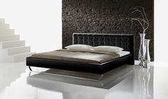 Łóżko z ekoskóry PESA w wybarwieniu czarnym