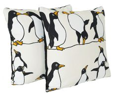 Penguin Cushion Covers Black White Yellow by CoralHomeAccessories