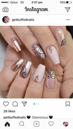 Opting for bright colours or intricate nail art isn't a must anymore. This year, nude nail designs are becoming a trend. Here are some nude nail designs. Beautiful Nail Art, Gorgeous Nails, Pretty Nails, Fancy Nails, Bling Nails, Nude Nails, Acrylic Nails, Coffin Nails, Hair And Nails