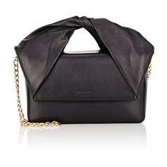 J.W.Anderson Women's Twist Bag ($1,300) ❤ liked on Polyvore featuring bags, handbags, black, chain handle bag, j.w. anderson, strap bag, handle bag and bow bag