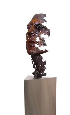 """Via Colossal: """"SculptorManuel Martí Morenolives and works in Valencia, Spain and forms these wonderful figurative pieces out of iron nuts. Via email Moreno says that he is most interested in showing the passage of time, the transience of life, and our collective awareness of our own"""