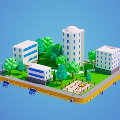 Present to you the low poly city block with four buildings and playground. The model was created in modern style with acute forms and has level of detail Low Poly Car, Digital Playground, City Block, City Model, Isometric Design, Low Poly 3d Models, Residential Complex, 3d Assets, Modern Interior Design
