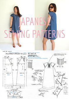 """Smock dress with French sleeves. A Japanese sewing pattern translated into English! Tutorial at http://www.sewinlove.com.au/2012/10/07/free-japanese-sewing-pattern-translations-denim-smock-dress/Use """"PINTEREST15"""" for 15% off my ebooks."""