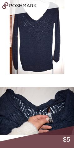 Off Shoulder Sweater Off shoulder navy blue sweater. 100% Acrylic. Size small. Absolutely Sweaters V-Necks