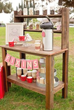 Hot Cocoa Bar at a Rustic Themed Holiday Party | #christmas #xmas #holiday #decor #partyideas