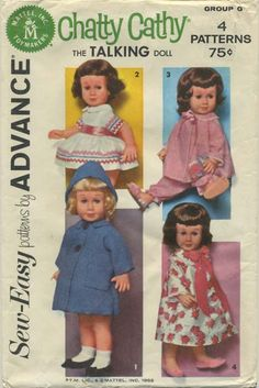 Vintage Doll Clothes Sewing Pattern | Chatty Cathy Wardrobe | Advance Group G | Year 1962 | One Size