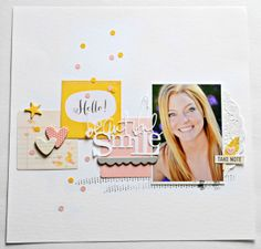 I love the fresh spring color combo & sprinkling of confetti on this #scrapbooking layout by sarahak at @Studio_Calico