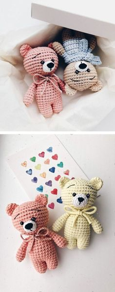 Free teddy bear crochet pattern These free crochet animal patterns can help you to create any animal you want by changing muzzle and ears. The head, body and legs of the amigurumi toys ar Marque-pages Au Crochet, Beau Crochet, Crochet Mignon, Crochet Motifs, Crochet Bear, Crochet Patterns Amigurumi, Cute Crochet, Crochet Crafts, Crochet Dolls