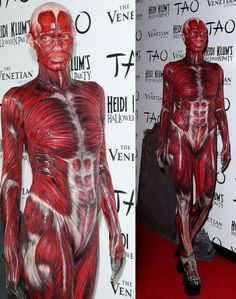 """One of the BEST costumes I have ever seen!!  2011 Supermodel Heidi Klum transformed into a """"Dead Body"""" at 12th annual Halloween party at Tao Nightclub in Las Vegas."""
