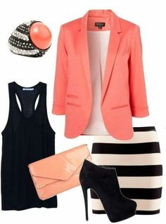 Coral & Stripes or any color blazer and accessories