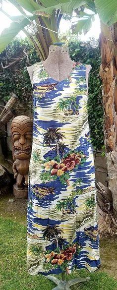 Hilo Hattie Hawaiian Aloha Tiki Tropical Womens XS full length tank top dress | Clothing, Shoes & Accessories, Women's Clothing, Dresses | eBay!