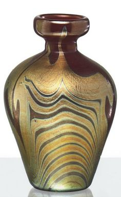 "Decorated Favrile glass vase, circa 1907, engraved ""L.C.T."" (Tiffany Studios)"