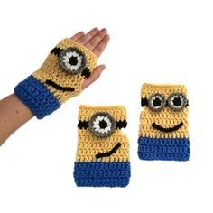 Free #Crochet Pattern Minion Mitts Fingerless Gloves #Craftsy @Craftsy