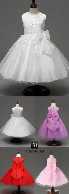 Eye-catching Tulle & Lace Jewel Neckline Floor-length Ball Gown Flower Girl Dresses With Bowknot Little Girl Dresses, Girls Dresses, Flower Girl Dresses, Birthday Frocks, Dress Anak, Long Gown Dress, Africa Dress, First Communion Dresses, Kids Frocks