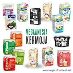 Vegaanisia kermoja kaurasta, soijasta ja kookoksesta.   Ruokakermat sopivat lehmänmaitokermojen tavoin kaikenlaiseen ruuanlaittoon kuten keittoihin, piirakoihin, kastikkeisiin, patoihin, perunamuusiin, kinuskin tekoon jne.  Kuvassa on myös makeita vispautuvia kasvikermoja, jotka sopivat kakkuhin, leivonnaisiin ja jälkiruokiin.   Oatly Fraiche on hapatettu kauravalmiste, joka muistuttaa ranskankermaa.  http://www.vegaanituotteet.net/perusruuat/kasvimaitotuotteet