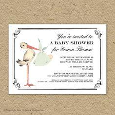 Vintage stork baby shower invitation, baby girl stork shower, baby boy stork shower, gender neutral shower, printable shower invitation