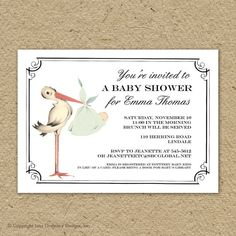 Vintage stork baby shower invitation, gender neutral baby shower invitation