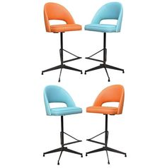4 Vtg Mid Century Modern Atomic Age Blue & Orange Iron Swivel Bar Stools Chairs #MidCenturyModern