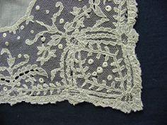 antique French lace handkerchief antiquelinen.com